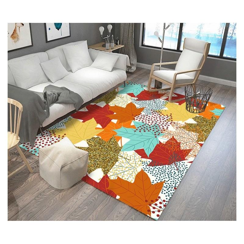 decoration d interieur multi couleur tapis sol moderne en pure laine tufte a la main feuille rouge jaune orange vert marron atelier wybo