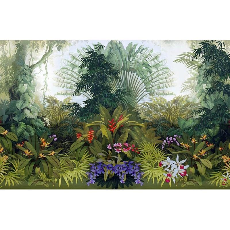 Jungle Arbre Du Voyageur Bambou Orchide Oiseau De Paradis Papier Peint Sol 3D