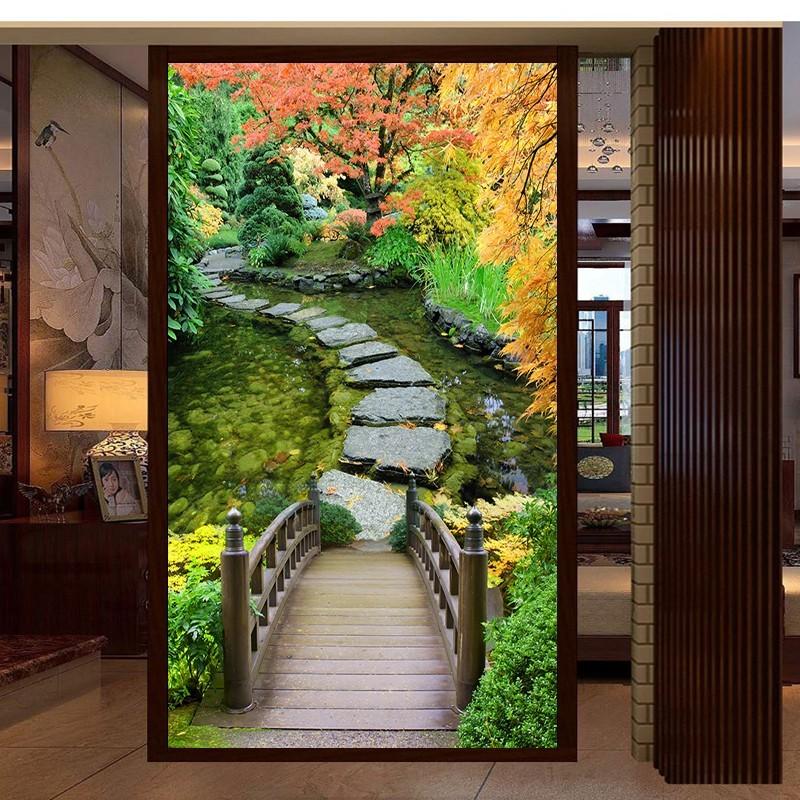 tapisserie murale jardin japonais poster geant paysage zen atelier wybo