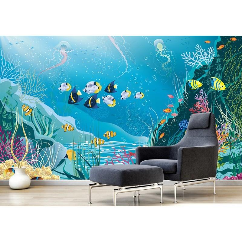 papier peint bleu bebe enfant dessin colore fond marin poisson atelier wybo