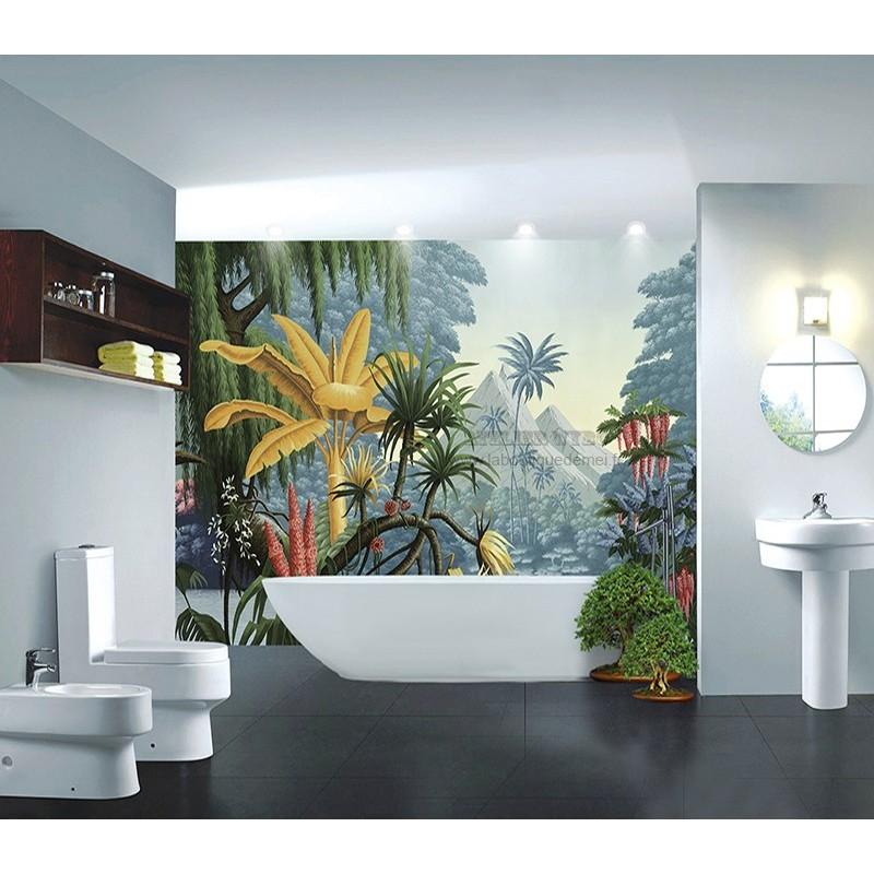 Decoration Salle De Bain Mur Baignoire Etanche Jungle Coloree Atelier Wybo