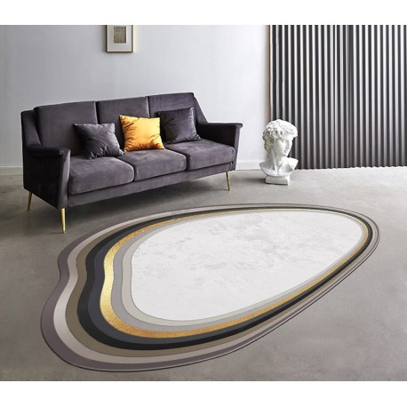 tapis ondule design contemporain beige uni bordure gris dore atelier wybo