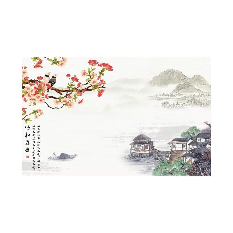 Papier Peint Asiatique Sur Mesure Style Chinois Paysage