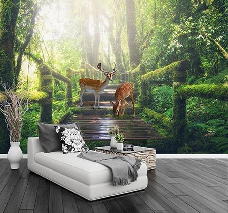 papier peint photo paysage nature animaux cerf dans la foret atelier wybo