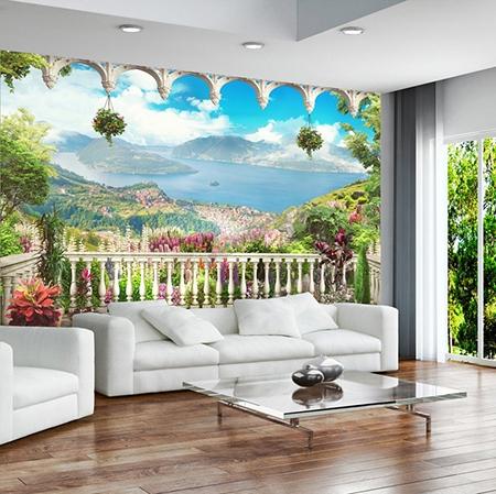 tapisserie murale paysage trompe l œil 3d vue panoramique du lac extension d espace