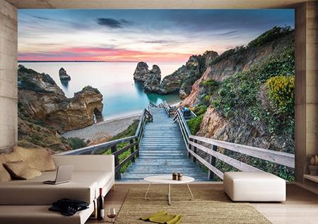 papier peint photo 3d personnalise tapisserie murale trompe l œil paysage nature le lac atelier wybo