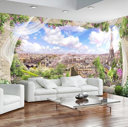 papier peint intisse panoramique tapisserie murale photo 3d paysage romantique de paris atelier wybo