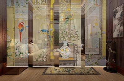 toile paravent amovible suspendue enrouleur perroquet fleur atelier wybo