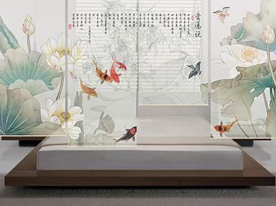store enrouleur translucide chinoiserie lotus poisson oiseau atelier wybo