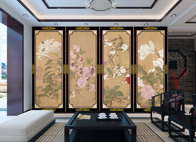 Japanese Wallpaper Papier Peint Asiatique Paravent Aux