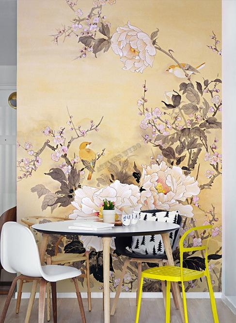 Papier Peint Floral Style Asiatique Format Portrait Les