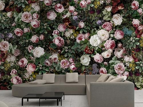 Papier Peint Floral Tapisserie Pivoine Sticker Mural Rose