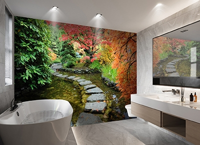 plaque pvc 3d decoratif mur de baignoire jardin japonais zen atelier wybo