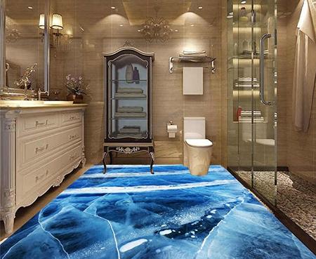 revetement de sol salle de bain trompe l œil 3d la glace bleue