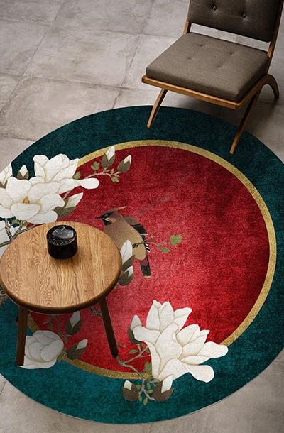 tapis rond rouge vert pur laine design chinois fleur oiseau atelier wybo