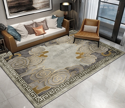 tapis laine gris sejour chambre design chinois nuage dore atelier wybo