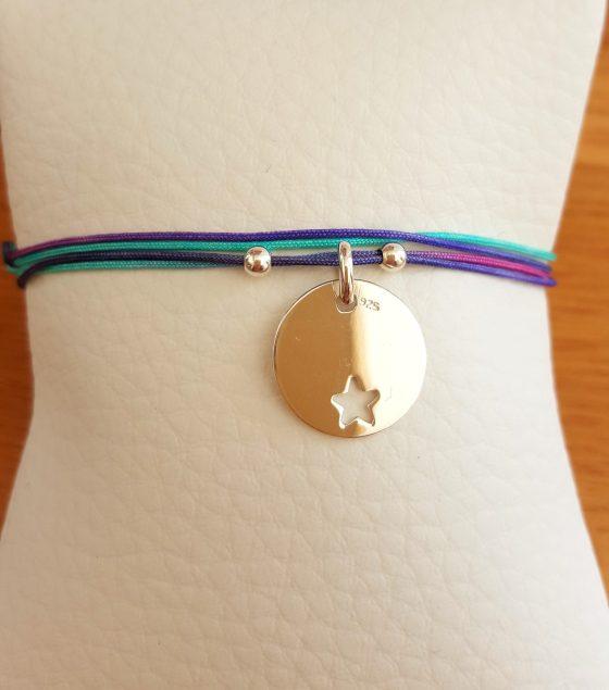 bracelet fil médaille ronde