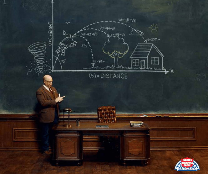 Physics falls short for Farmers Insurance ad