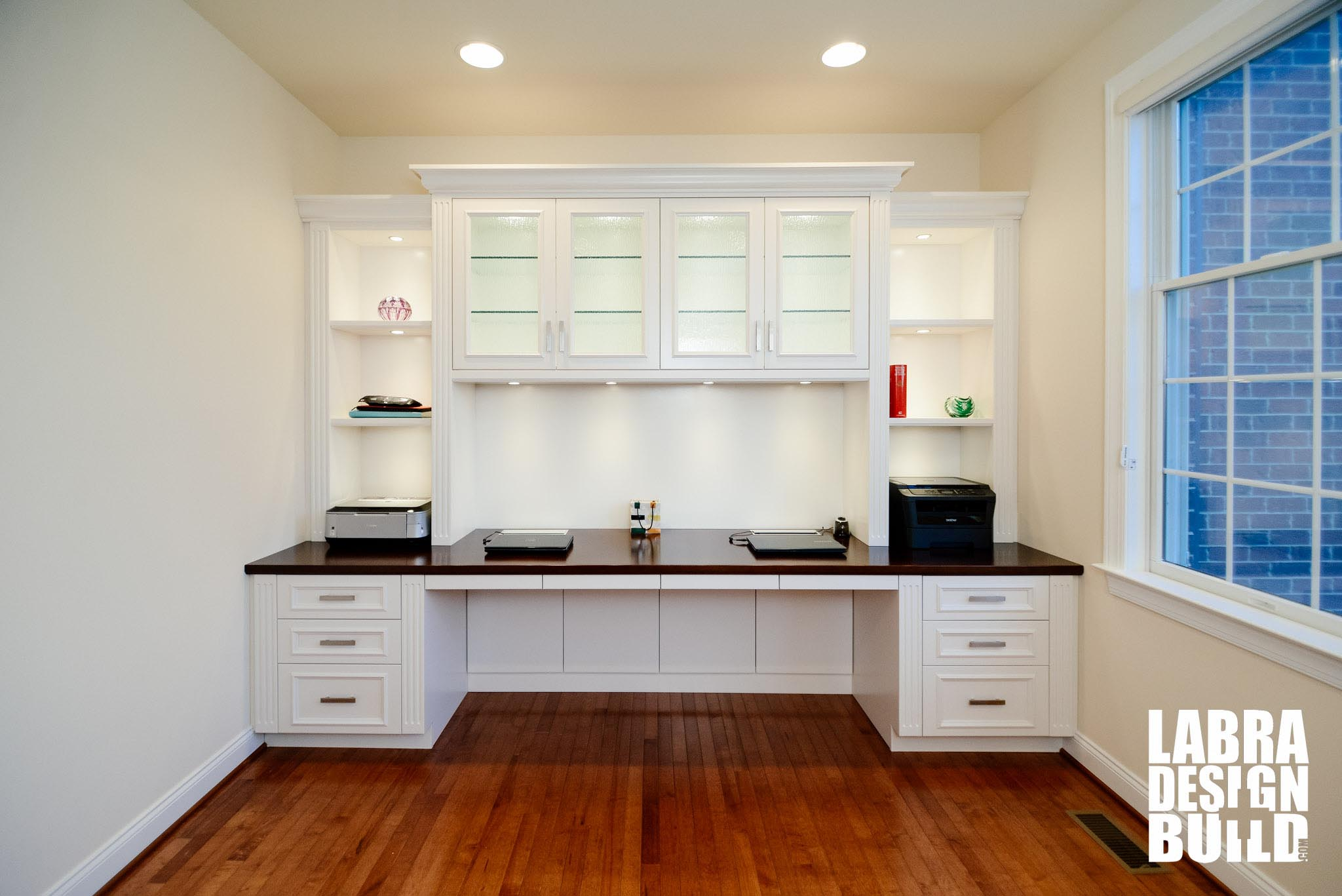 Traditional White Painted Maple Built-In Desk Northville MI