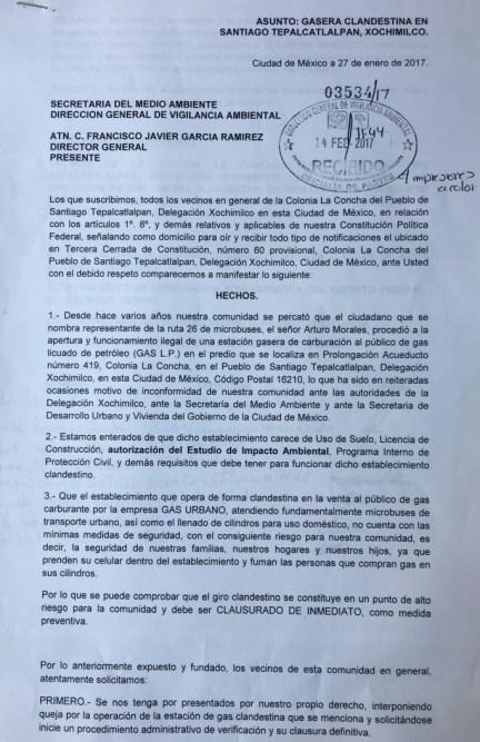 Invea protege gasera ilegal en Xochimilco-documento