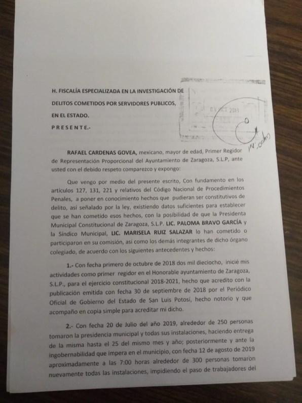 denuncia del regidor Rafael Cardenas Govea-