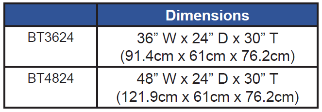 Balance Table Dimensions Chart