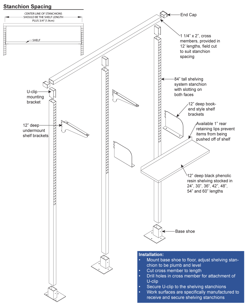 Adjustable Lab Shelves for Bench and Wall Systems installation diagram