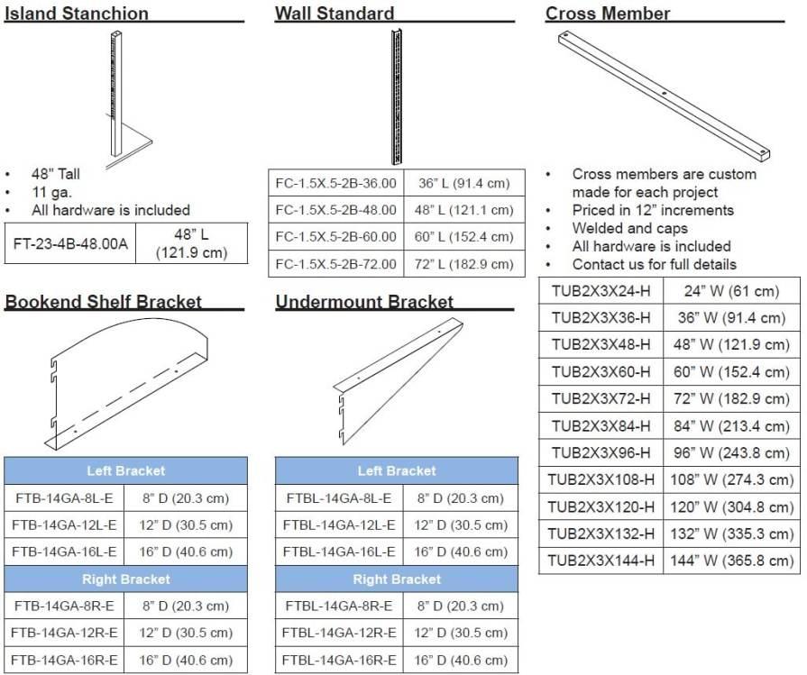 Lab Wall Shelving Sizes Chart