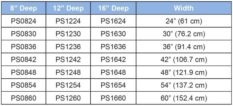 Phenolic Shelving Sizes Chart