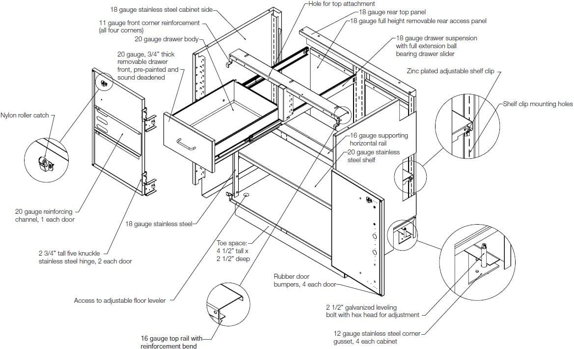 Steel Laboratory Casework Diagram