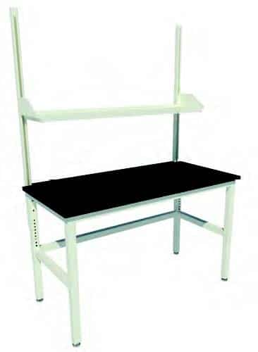 "Adjustable Height Patriot Table with Leveling Glides, Uprights and One 12"" Deep Steel Shelf"