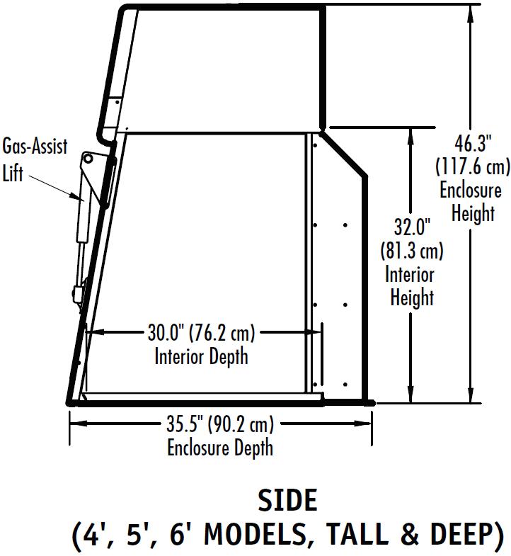 Balance Fume Hood Side Dimensions Chart