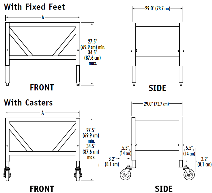 Balance Fume Hood Base Stands Dimensions drawings