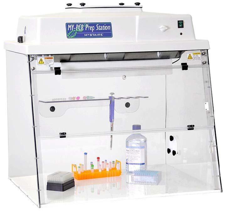 PCR Workstation with Class 100 Vertical Laminar Flow Air and Timed UV light. 110V