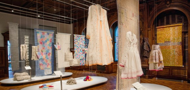 The Scraps exhibition installed in Cooper Hewitt's galleries.