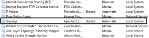 Figure 2 - iArtist Apache service running as System.