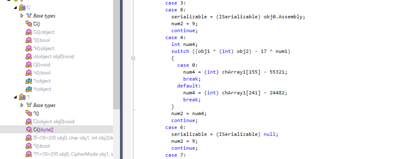 Figure 2 Obfuscated C# code.