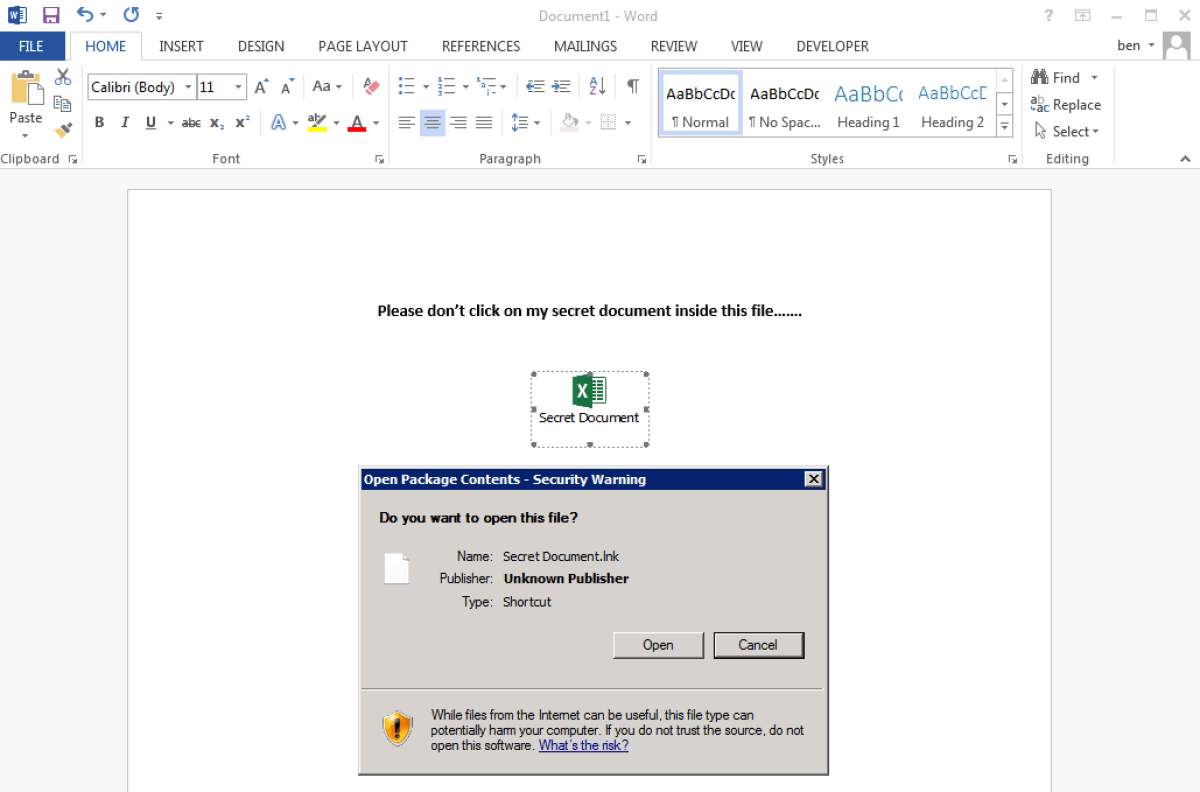 Secret document that runs an LNK file using msiexe