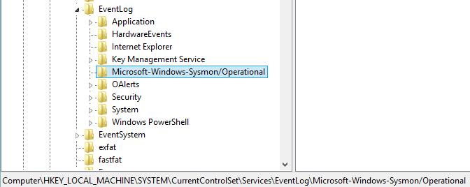 Sysmon registry key