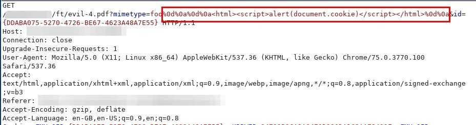 Vulnerable Request Including HTML Encoded CRLF Characters and XSS Payload