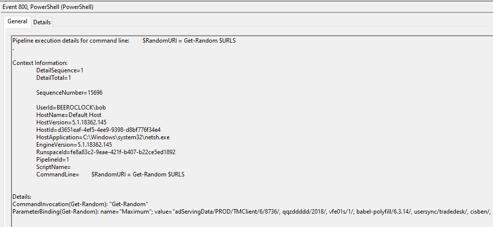 PowerShell ScriptBlock logging can reveal a wealth of information, here including the beacon URLs for PoshC2 and again netsh.exe as a host process.