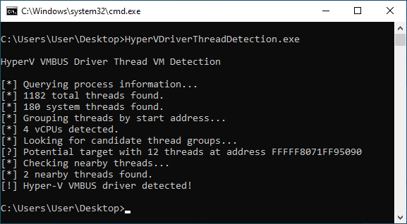 A screenshot of a command line window. A proof of concept program called Hyper-V Driver Thread Detection is being executed. It is printing information about the detection process. The output is as follows: Querying process information... 1182 total threads found. 180 system threads found. Grouping threads by start address... 4 vCPUs detected. Looking for candidate thread groups... Potential target with 12 threads at address FFFFF8071FF95090. Checking nearby threads... 2 nearby threads found. Hyper-V VMBUS driver detected!