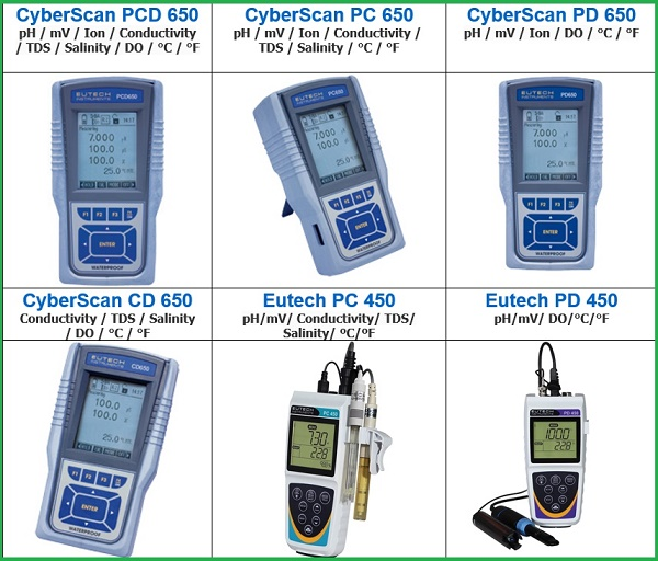 Máy đo đa chỉ tiêu pH/độ dẫn điện/ TDS/độ mặn/ nhiệt độ/mV/Ion hãng Eutech