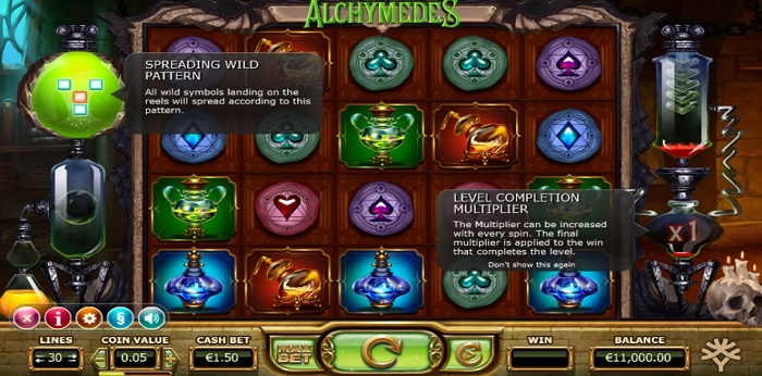 Alchymedes online slot game screen