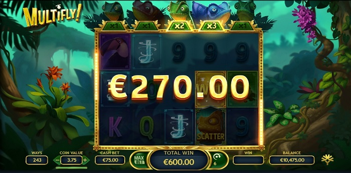 Multifly online slot game win