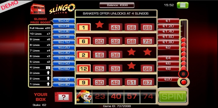 Slingo Deal or No Deal online slot another game screen