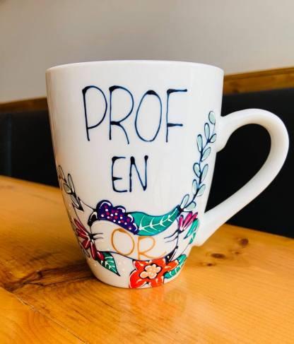 cadeau professeur tasse pastel et paillettes