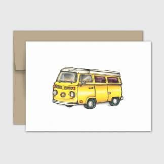 fêtes grenadine carte sans texte fourgonnette vintage jaune