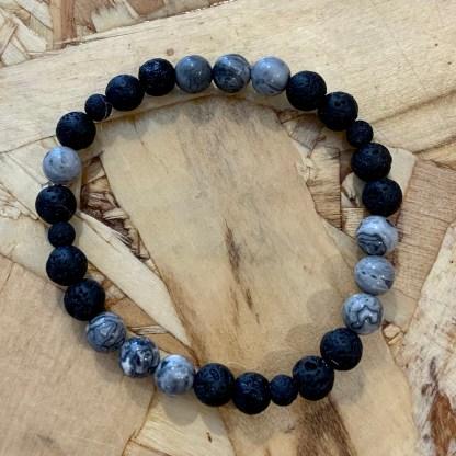 créations dominique bracelet enfant noir et gris