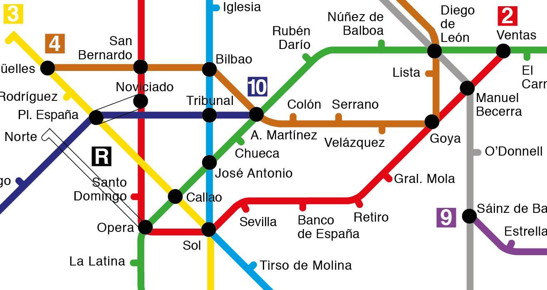 Así era el plano del metro de Madrid en 1982